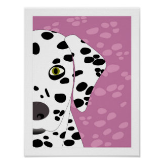 Dalmatian | Violet, Black & White Abstract Art Poster