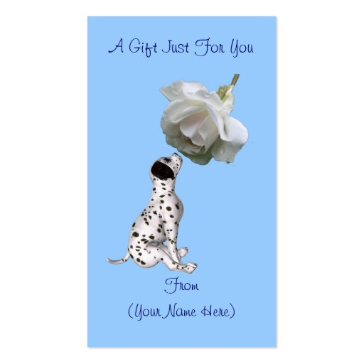 Dalmatian white rose personalized gift card tag business for Personalized gift cards for businesses