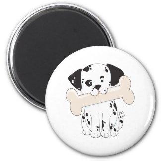 Dalmatian with Bone 2 Inch Round Magnet