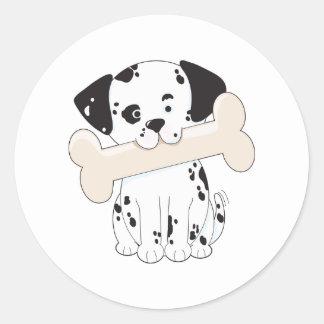 Dalmatian with Bone Classic Round Sticker