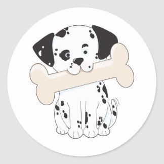 Dalmatian with Bone Round Sticker