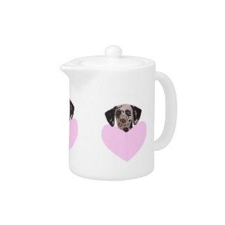 Dalmatian with Pink Heart Teapot
