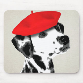 Dalmatian With Red Beret Mouse Pad