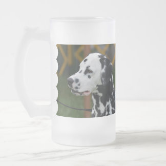 Dalmatian with Spots Frosted Glass Beer Mug