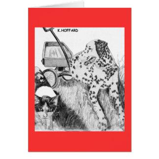 Dalmatian y gatito tarjetas