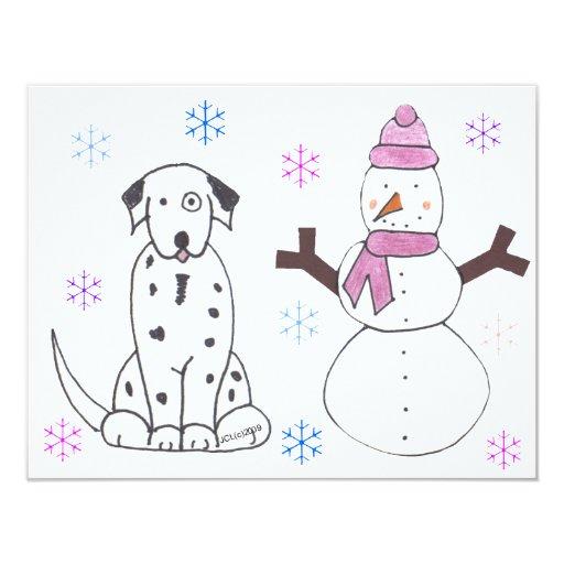 """Dalmatian y muñeco de nieve invitación 4.25"""" x 5.5"""""""