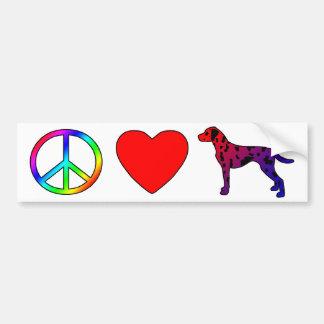Dalmatians del amor de la paz etiqueta de parachoque