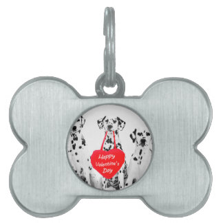 Dalmatians Dog Heart Happy Valentine's Day Pet Name Tag