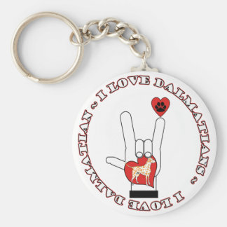 DALMATIANS - I ASL LOVE SIGN ORANGE DALMATIANS KEYCHAIN