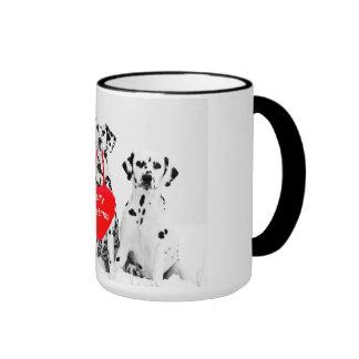 Dalmatians Wishing Merry Christmas mug
