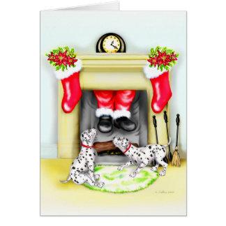 Dalmation Christmas Santa Drops In Greeting Cards