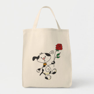 Dalmation con las camisetas y los regalos color de bolsa