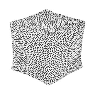 Dalmation Dots in Black and White Cube Pouf