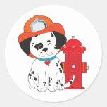 Dalmation Fire Dog Classic Round Sticker