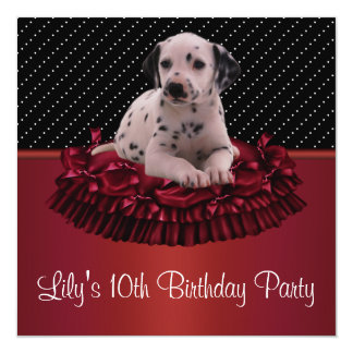Dalmation Puppy Girls10th Birthday Party 5.25x5.25 Square Paper Invitation Card