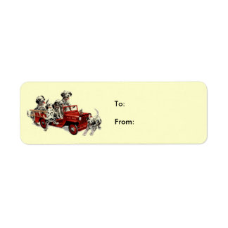 Dalmation-pups-fire-engine, To:From: Custom Return Address Label