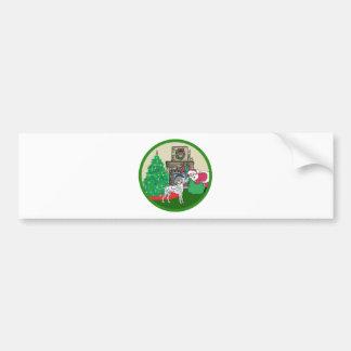 dalmtatian santas bumper sticker