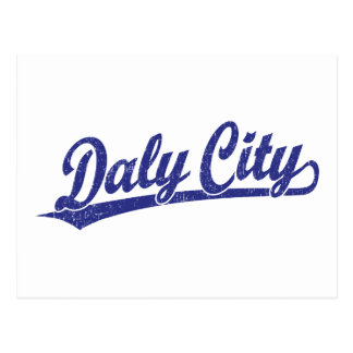 Daly City script logo in blue Postcard