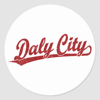 Daly City script logo in red Classic Round Sticker