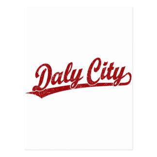 Daly City script logo in red Postcard