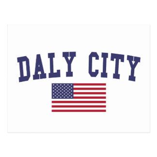 Daly City US Flag Postcard