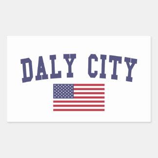 Daly City US Flag Rectangular Sticker