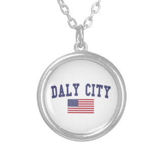 Daly City US Flag Round Pendant Necklace