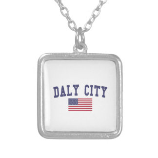 Daly City US Flag Square Pendant Necklace