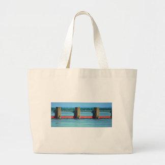 dam across upper mississippi canvas bag