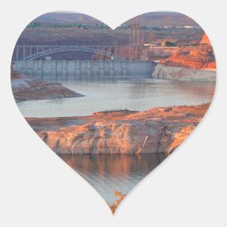Dam and Bridge at sunrise Heart Sticker