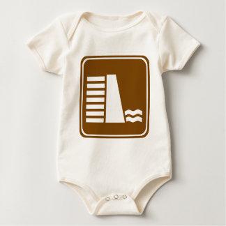 Dam or Reservoir Highway Sign Baby Bodysuits
