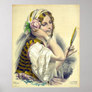 Dama Camélias aux. 1850 del La Póster