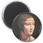 Dama con ermellino Da Vinci Fine Art 2 Inch Round Magnet