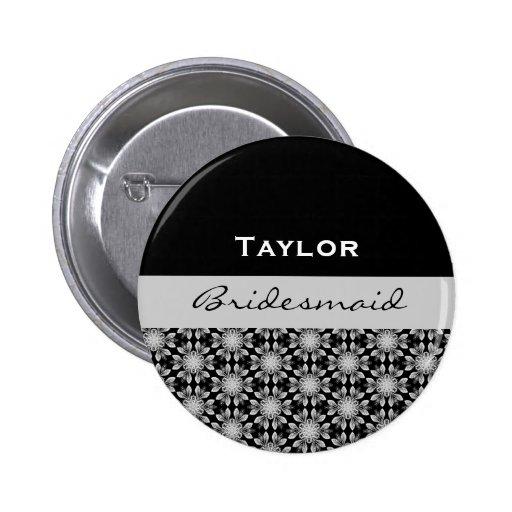 Dama de honor B001 floral de plata blanco negro Pins