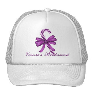"""Dama de honor - """"bastón de caramelo rayado púrpura gorros"""