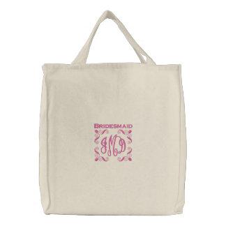 Dama de honor con el monograma de la letra del ros bolsa de lienzo