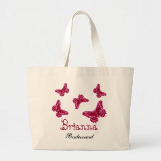 Dama de honor conocida personalizada mariposa rosa bolsa tela grande