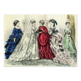"""Dama de honor de la novia del boda del Victorian Invitación 5"""" X 7"""""""