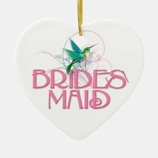 Dama de honor del colibrí adorno de cerámica en forma de corazón