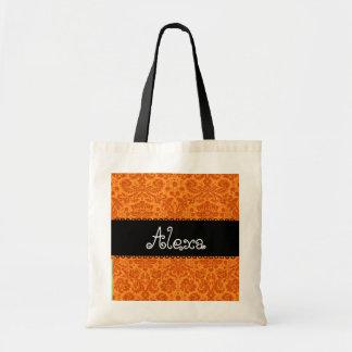Dama de honor del damasco o tote anaranjada de la  bolsa