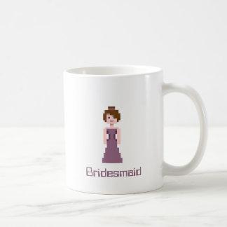 Dama de honor del pixel - la púrpura con Brown Taza De Café