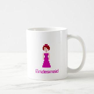 Dama de honor del pixel - la púrpura con gris taza de café
