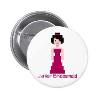 Dama de honor del pixel - marrón - pelo negro - hi pin redondo 5 cm