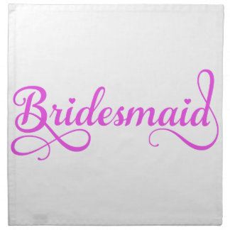 Dama de honor, diseño rosado del texto del arte de servilletas de papel