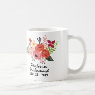Dama de honor floral elegante taza de café