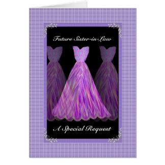 Dama de honor futura de la cuñada - vestidos de la tarjeta de felicitación