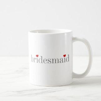 Dama de honor gris del texto taza de café