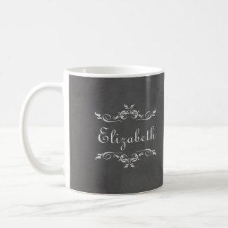 Dama de honor gris romántica de la pizarra del taza