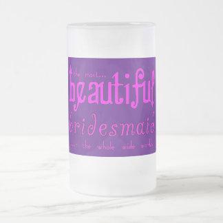 Dama de honor hermosa de las gracias de los favore taza cristal mate
