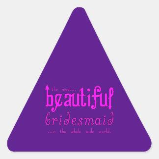Dama de honor hermosa de las gracias de los pegatina triangular